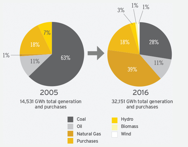 Emera's Evolving Fuel Mix 2005–2016